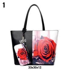 Tote Bag Korean Style Printing Red Rose / Tas Bahu Wanita Korean Style (Multicolor)