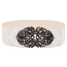 TP White Alloy Flower Sabuk Kulit Merek Wanita Vintage Girdle Beltsfor Wanita Murah-Fine Store-Intl