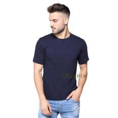 TRAFIX Kaos Polos Pria Premium - T-Shirt Polos Navy Blue 30s