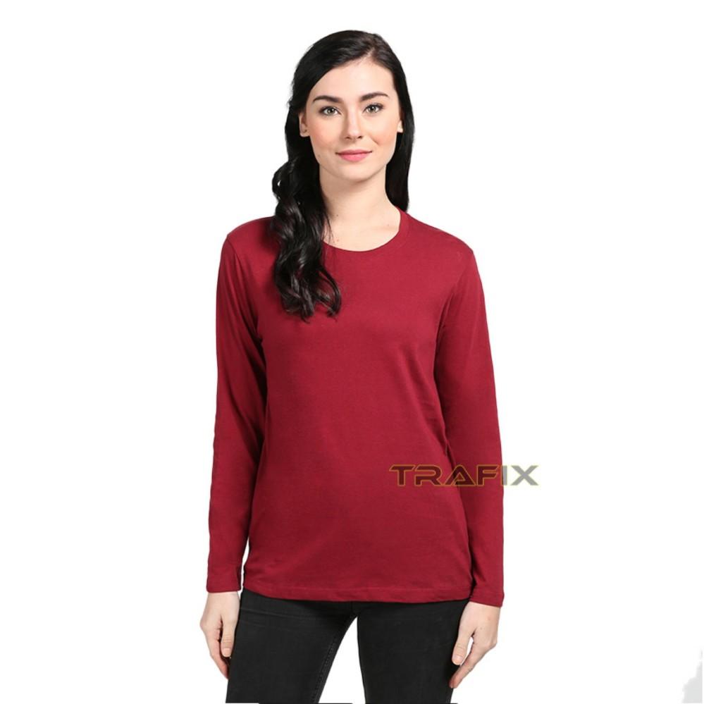 Unisex Bisa Pria / Wanita TRAFIX Kaos Polos Wanita Lengan Panjang - T-Shirt Cewe Unisex Premium