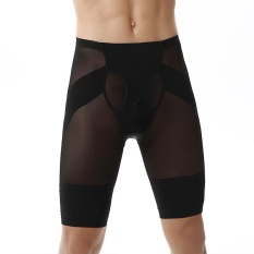 Trainer Pria Binaraga Shorts Kompresi Pelangsing Body Shaper Underwear Celana Ketat Slim Fit Boxer Pants-hitam-Intl
