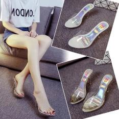 Harga Transparan Kristal Perempuan Tahan Air Tarik Sandal Sandal Dan Sandal Perak Perak Sepatu Wanita Sandal Wanita Yang Murah