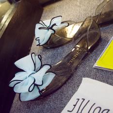 Harga Transparan Plastik Renda Corak Bunga Sepatu Jelly Langit Biru Bunga Dengan Hitam Sepatu Wanita Sendal Wanita Merk Other