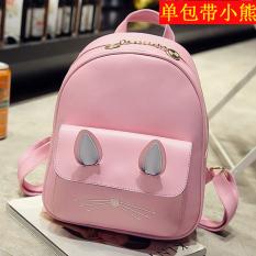 Tren baru lucu anak kucing tas ransel tas (Anak kucing telinga merah muda tunggal paket