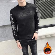 Tren Beludru Kulit Rusa Pria Ramping Baju Dalaman Sweter Tanpa Kancing Kaos Sweater