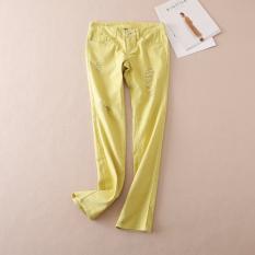 Beli Wb506 Kuning Indah Musim Gugur Celana Jeans Sobek Kuning Oem Murah