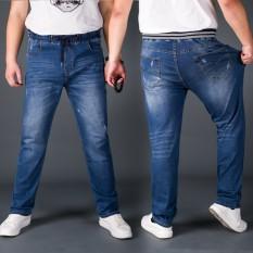Ukuran besar celana pria celana jeans pria sabuk elastis Celana Pensil Highwaist Tren Gemuk Olah Raga Celana santai besi Logam