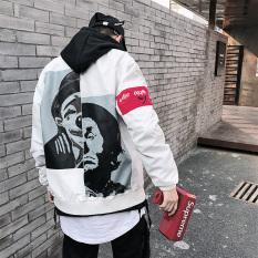 Jaket Printed Pria Ala Korea Ukuran Besar (Putih) (Putih)