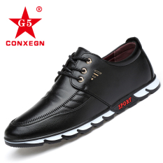 Promo Sepatu Kulit Pria Santai Model Inggris Hitam Hitam Murah