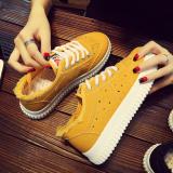 Tren Perempuan Datar Renda Model Wanita Sepatu Kain Sepatu Kanvas Kuning Sepatu Wanita Sepatu Sport Sepatu Sneakers Wanita Di Tiongkok