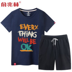 Tren Pria Musim Panas Laki-laki Kaos (Biru Gelap (Everyok) + Pants