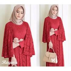 Baju muslim & Jumpsuit - Dress wanita - Gamis pesta - Baju gamis - Gamis wanita - Baju muslim wanita terbaru promo - brukat lapis furing