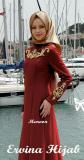 Jual Gamis Pesta Maxi Jersey Bordir Uk L Maroon Branded Original