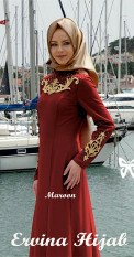 Harga Gamis Pesta Maxi Jersey Bordir Uk L Maroon Asli