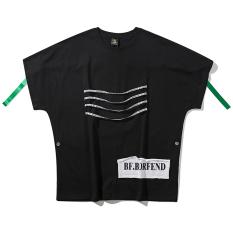 Trendi Eropa atau Amerika Serikat Pita Tarian Lengan Bang Pendek Kaos Baju Kaos (Hitam)