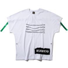 Trendi Eropa atau Amerika Serikat Pita Tarian Lengan Bang Pendek Kaos Baju Kaos (Putih)