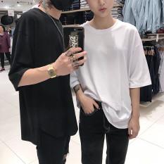 Trendi Kaos Panggul Hop Warna Polos Kaus Pria atau Wanita Longgar (Hitam)