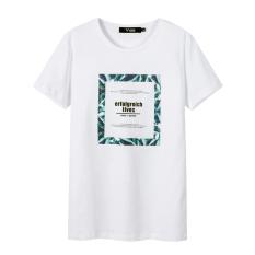 Trendi Katun Baru Leher Bulat Musim Panas Lengan Pendek Atasan Kaos (Putih 108)