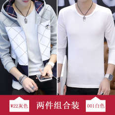 Trendi Korea Gaya Busana Pria Siswa Sekolah Menengah Baru Kebugaran Jas Bagian Tipis Kaos Sweater (W22 Abu-abu + Lengan Panjang Baju Kaos)