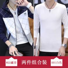 Trendi Korea Gaya Busana Pria Siswa Sekolah Menengah Baru Kebugaran Jas Bagian Tipis Kaos Sweater (W22 Biru Tua + lengan Panjang Baju Kaos)