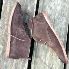 Trendi Pria Ala Inggris Kulit Pria Sepatu Bot Padang Gurun Dr. Martens (Gosok Kokas Kopi Warna)
