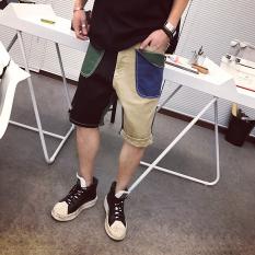 Trendi Pria Kasual Warna Mantra Model RAM Amerika Perkakas Celana Sedang (B Warna (Hitam atau Hijau + Coklat muda))
