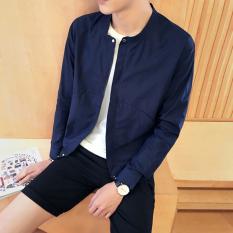 Spesifikasi Jaket Pelindung Matahari Breathable Pria Slim Fit Gaya Korea Biru Tua Biru Tua Baru