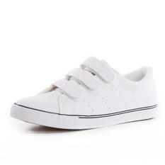 Top 10 Trendi Pria Korea Fashion Style Laki Laki Velcro Gesper Kampus Sepatu Sekolah Kulit Kanvas Sepatu Xc T288 Putih Online