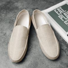Trendi Pria Korea Modis Gaya Mudah Dipakai Sepatu Trendi Sepatu Kulit Kacang (Yg-6000 Warna Beras)