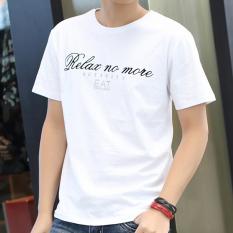 Trendi Pria Korea Modis Gaya Pria Dicetak Remaja Baju Kaos Baru Lengan Pendek Kaus (Makan Lengan Bang Pendek Putih)