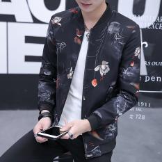 Trendi Pria Korea Modis Gaya Pria Musim Semi Baru Jaket (Ikan Mas Hitam)