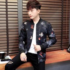 Trendi Pria Korea Modis Gaya Pria Musim Semi Baru Jaket Kasual Jaket Pria (Ikan Mas Hitam)