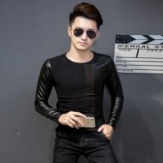 Beli T Shirt Ketat Tambah Beludru Pria Gaya Korea Bagian Tipis Hitam Bagian Tipis Hitam Nyicil