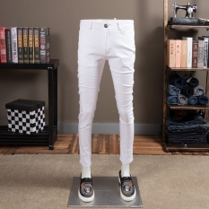 Trendi Pria Sederhana Katun Warna Polos Ramping Putih Celana Jeans (Putih)