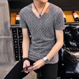 Dapatkan Segera Trendi Pria Sutra Es Laki Laki V Neck Musim Panas Baju Kaos T Shirt Abu Abu Kerah Standar