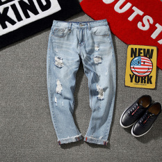 Trendi Pria Warna Muda Laki-laki Musim Semi atau Musim Panas Lee Jeans Celana Beggar Celana Jeans Sobek (gambar Warna)