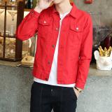 Harga Trendi Pria Warna Solid Pria Slim Jeket Jeans Pria Jeket Denim Warna Solid Jaket Merah Jaket Pria Jaket Jeans Jaket Denim Baru Murah
