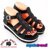 Review Trendishoes Sandal Wedges Wanita T Strap Bogrg40 Hitam Terbaru