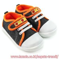 Harga Trendishoes Sepatu Bayi Walker Anak Laki Laki Velcro Strap Hitam Orange Online