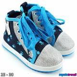 Beli Trendishoes Sepatu Boot Anak Cewe Denim Import Zipper Veysnw Lis Biru Seken