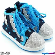 TrendiShoes Sepatu Boot Anak Cewe Denim Import Zipper VEYSNW - Lis Biru
