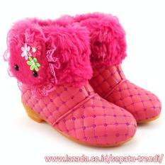 Beli Trendishoes Sepatu Boot Anak Perempuan Elegan Boneka Bulu Fuchsia Lengkap
