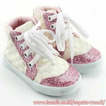 ... Cantik Source · TrendiShoes Sepatu Boot Anak Perempuan Tali Kece SM Putih Pink