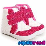 Toko Jual Trendishoes Sepatu Boot Anak Perempuan Velcro 2 Velce Putih Fuchsia