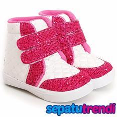 Harga Trendishoes Sepatu Boot Anak Perempuan Velcro 2 Velce Putih Fuchsia Origin