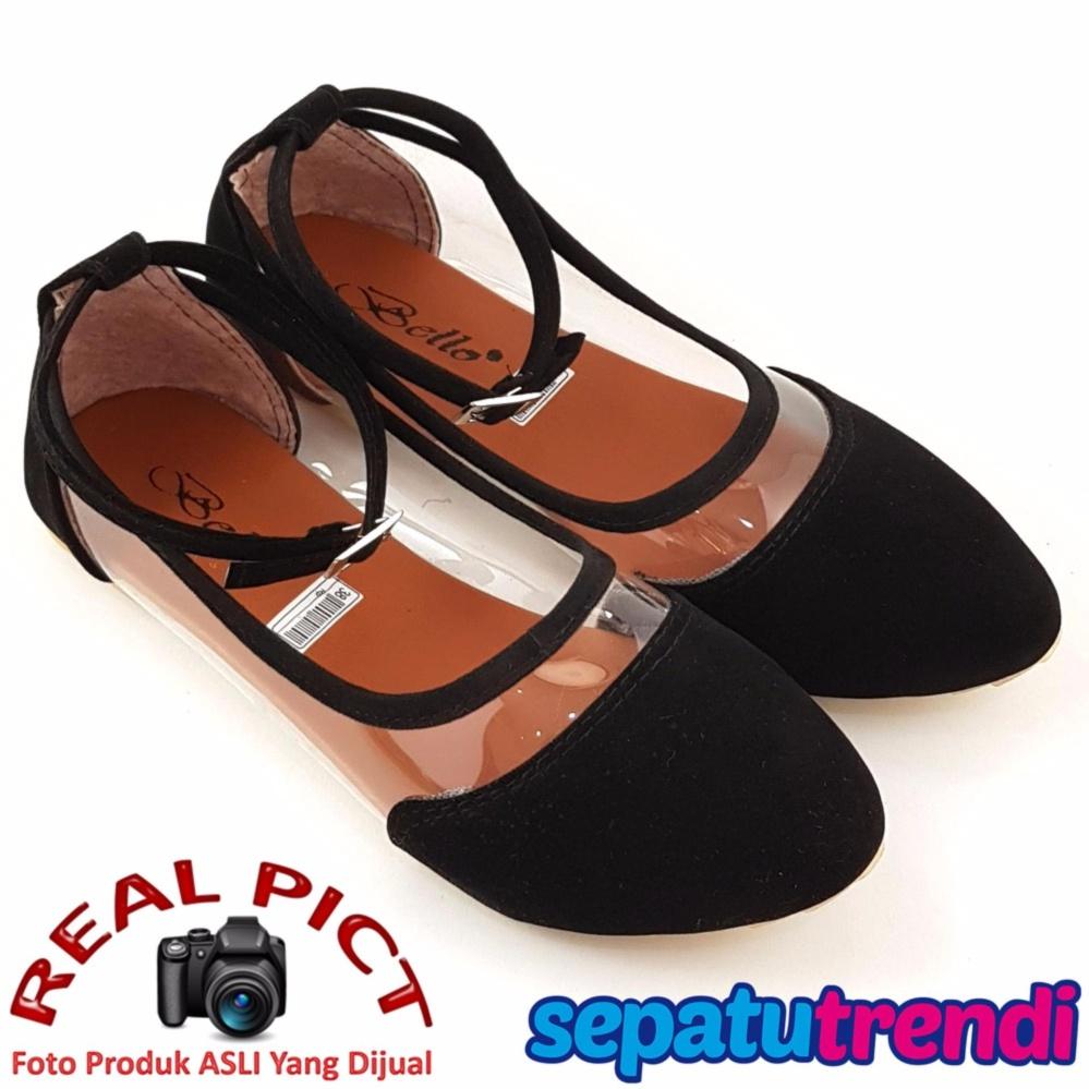 Model sisi tengah transparan TrendiShoes Sepatu Wanita Flat Shoes Angkle Strap Trans Side 043 - Hitam