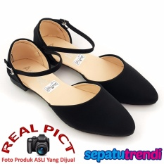 TrendiShoes Sepatu Wanita Flat Shoes d'Orsay Ankle Strap SO02 - Hitam