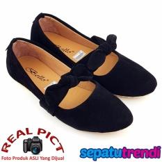 TrendiShoes Sepatu Wanita Flat Shoes Suede Knot BO025 - Hitam