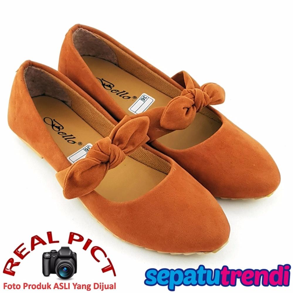 Harga Terjangkau Onvie Sepatu Wanita Flat Shoes Formal Kerja Kuliah Karet Suede Model Tali Ikat Simpul Trendishoes Knot Bo025 Tan
