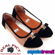 TrendiShoes Sepatu Wanita Flat Shoes Transparant Side 022 - Hitam